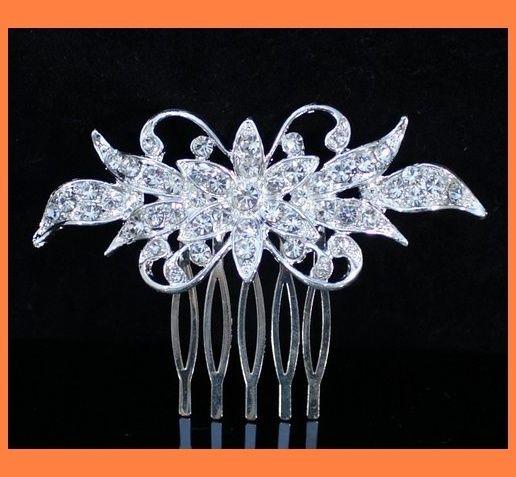 RHINESTONE CRYSTAL HAIR COMB BRIDAL WEDDING TIARA JEWELRY C0111