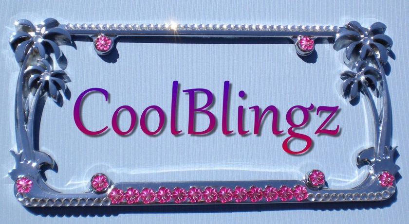 Hot Pink Flower & Crystal Rhinestone Bling PALM TREE License Plate