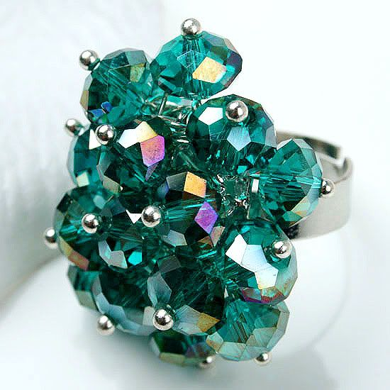 Green Crystal Glass Faceted Flower Bead Ring 1PC Size 6